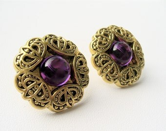 Royal Purple Jewel Vintage-Inspired Earrings. FAST Shipping w/Tracking for US Buyers. Gift Box & Cute Ribbon Incl. Ready for Gift Giving.