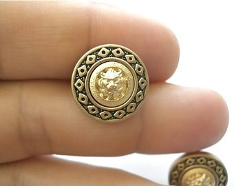Lion Head Stud Earrings in Muted Gold Tones - Vintage Inspired - Surgical Steel Posts