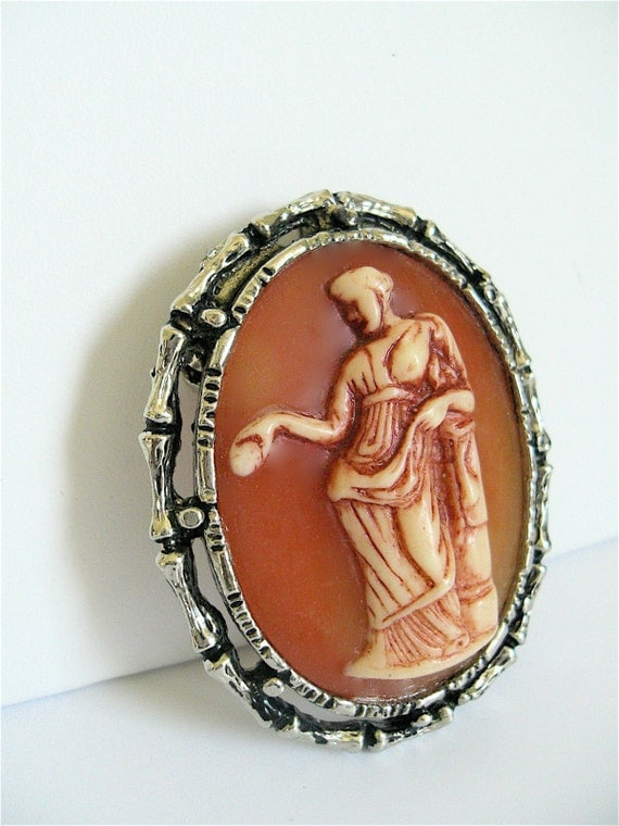 Roma Vintage Brooch -Roman Goddess  Cameo Brooch- with Necklace Adaptor Component