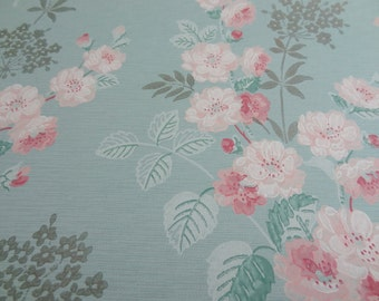 Vintage Wallpaper  Pink Roses on Aqua with Silver Accents - 1 Yard