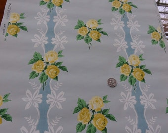 Vintage Wallpaper - Yellow Roses on Lace with Blue Background - 1 yard