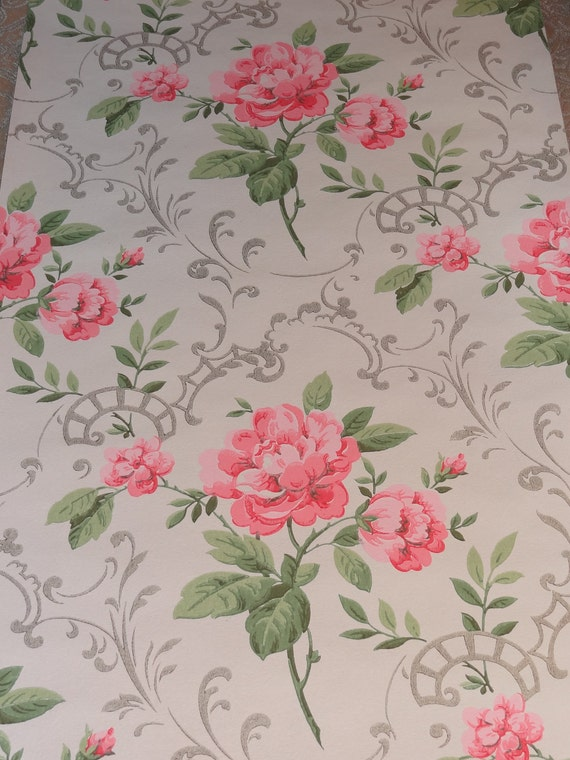 Vintage Wallpaper  Shabby Pink Roses with Silver Accents  - 1 Yard