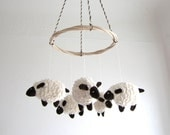 Baby mobile, sheep, lamb, nursery decor, baby gift, shower gift, white, brown, cosy, can be vegan