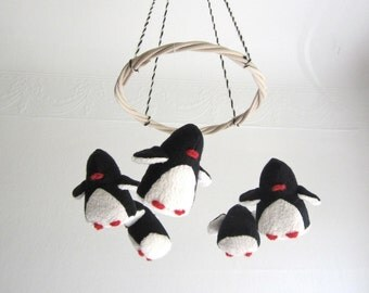 baby mobile, penguins, baby, black, white, nursery decor, penguin, shower gift, new baby, eco friendly, cosy, organic kids, modern