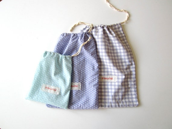 Gift bag, organic cotton, present wrap, string bag for your Pingvini gift, reusable, eco friendly