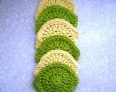 Crochet scrubbies-Set of 6 lemon and lime shaped crocheted scrubbies