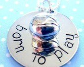 Basketball Necklace - Hand Stamped Jewelry - Sterling Silver
