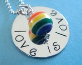 Gay Pride Hand Stamped Necklace - Hand Stamped Jewelry - Sterling Silver - Rainbow Bead