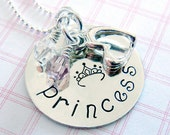 Princess Necklace - Hand Stamped Jewelry - Childrens Jewelry