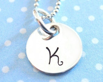 Hand Stamped Necklace - Hand Stamped Jewelry - Tiny Initial Disc