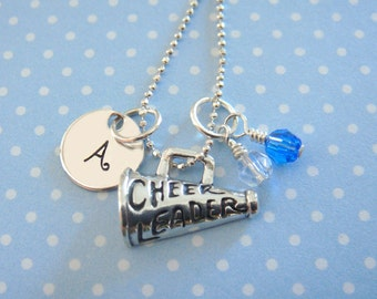 Cheerleader Necklace - Hand Stamped Jewelry - Sterling Silver Megaphone