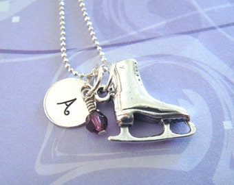 Figure Skater Necklace - Hand Stamped Jewelry - Personalized Necklace