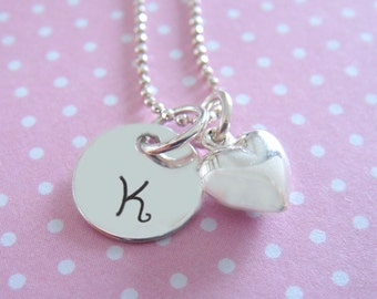 Heart Necklace Valentines Day - Hand Stamped Jewelry - Personalized