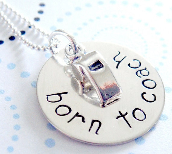 Coach Hand Stamped Necklace - Personalized Jewelry - Sterling Silver Whistle