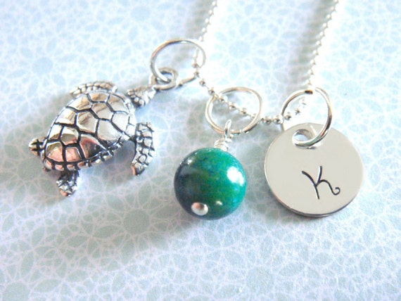 Sea Turtle Necklace - Hand Stamped Jewelry -  Personalized  - Sterling Silver