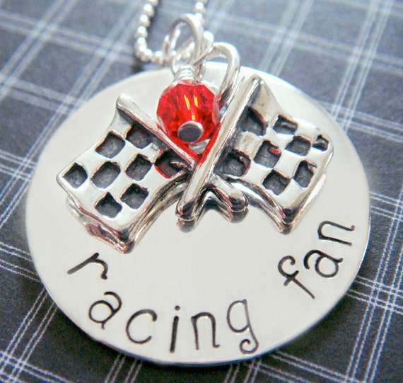 Hand Stamped Jewelry - Personalized Necklace - Nascar Racing Charm