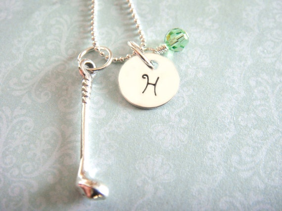 Golf Necklace - Hand Stamped Jewelry - Sterling Silver