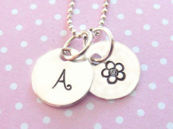 Hand Stamped Jewelry - Personalized Necklace - Sterling Silver - Tiny Disc