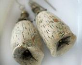 Beaded Earrings - Polymer Clay Earrings - Pod -- Handmade Bead Earrings - Rustic Cream Beads