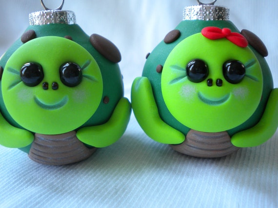 Pair of Turtles Christmas Ornaments