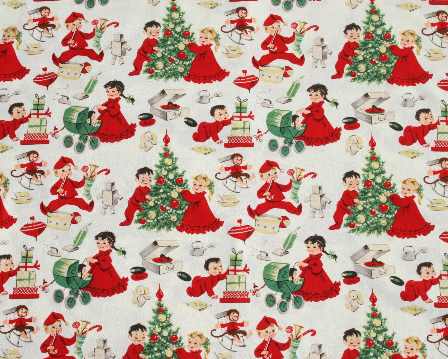 Michael miller 1 2 yard cotton fabric vintage retro christmas for Retro fabric
