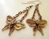 Mariposa Earrings: Vintage Filigree Butterflies