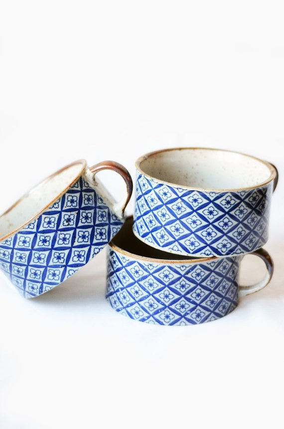 Set of Three Vintage Blue Patterned Mugs
