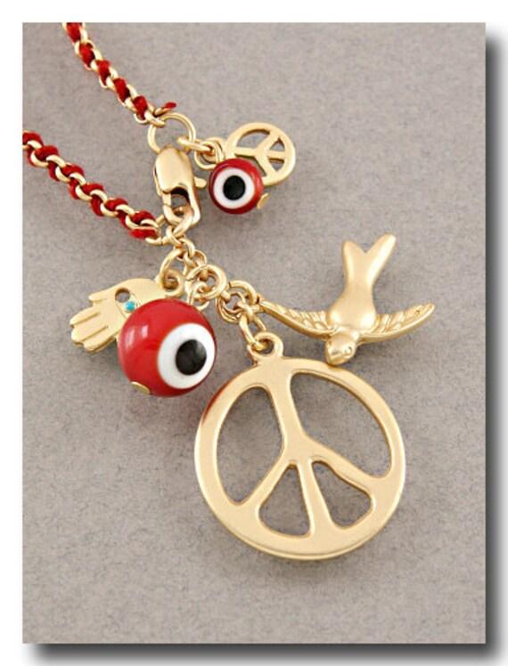 Peace & Evil Eye Red Bracelet