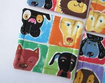 Dog Faces Quilted Coasters (Set of 4)