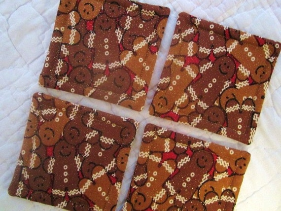 Gingerbread Men  Quilted Coasters (Set of 4)
