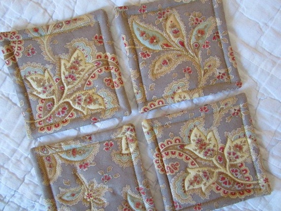 Neutral Leaves Quilted Coasters (Set of 4)