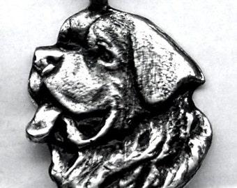 LARGE Saint Bernard Dog Pendant Solid Sterling Silver Free Domestic Shipping