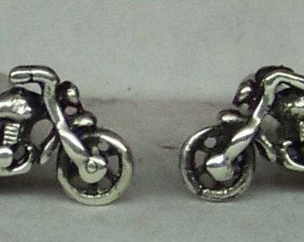 Motorcycle Stud Earrings Sterling Silver Free Shipping