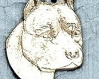Large American Staffordshire Dog Pendant  Sterling Free Shipping