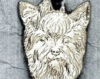 Large Yorkshire Terrier Dog Pendant  Sterling Free Shipping