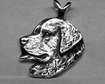 Large Newfoundland Dog Pendant  Sterling Free Shipping