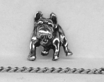 Bulldog Tie Tack Sterling Silver Free Shipping