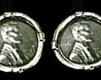 GENUINE 1943 STEEL PENNY Cufflinks in solid sterling silver Free Shipping