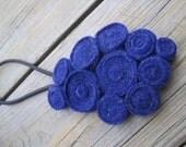 Rosettes Headband - Royal Navy Blue