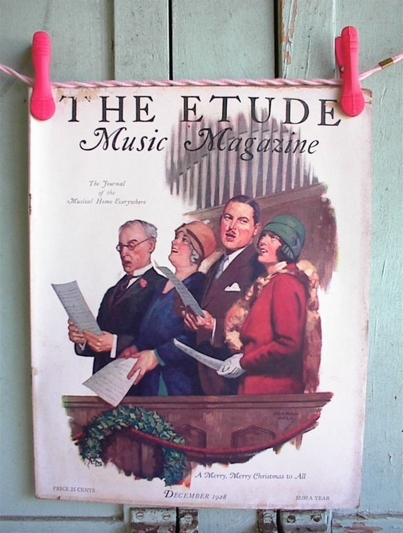 Vintage 1920's THE ETUDE Christmas Carols in the church balcony, Music Magazine December 1928 picture titled A Merry Christmas to All, Perfect for framing, scrapbooking and more