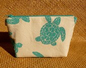 Turquoise Sea Turtle on Canvas Zipper Bag to Benefit Marine Discovery Center Kids Programs