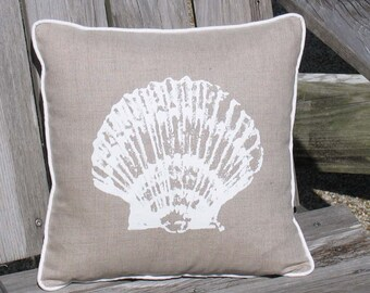 Hand Printed Scallop Shell on Natural Linen Decorative Pillow For Your Beach House