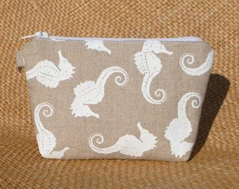 White Seahorses Hand Printed on Natural Linen Hand Sewn  Zipper Bag/Clutch beach wedding