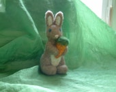 big needle felted bunny with carrot--reserved for Stephanie