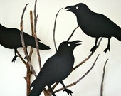 Five Black Life-size Diecut Crows for Halloween