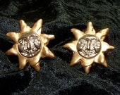 Large Gold and SIlver Tone Smiling Sun Earrings.