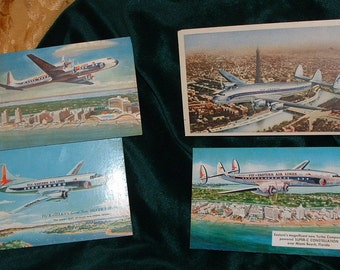 Vintage Eastern Airlines  and  Air France  Postcards.