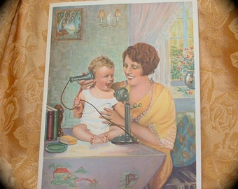 1920s 1930s Lithograph of Mother and Child On Telephone By Bergaman.