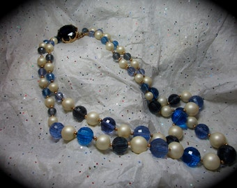 1950s  Mariam Haskell Like  Blue Jeweled and Beaded Necklace.