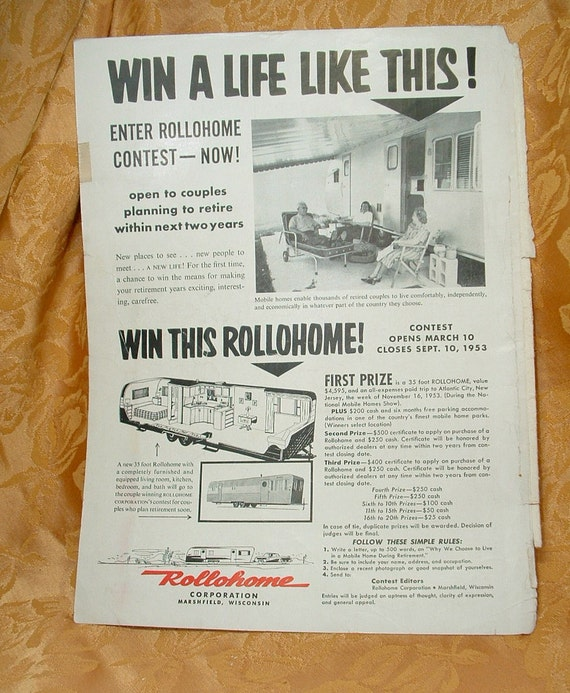1953 Rollohome Corporation Travel Trailer Advertisement.